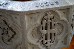 Detail from the font at the back of church